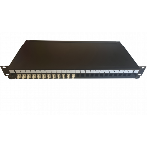 LC Duplex 24 port 24 position patch panel loaded with 12 LC duplex multimode adaptors (Each)