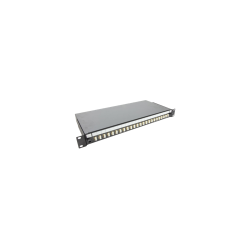 LC Quad front sliding tray 24 position patch panel loaded with 24 LC quad multimode adaptors (Each)