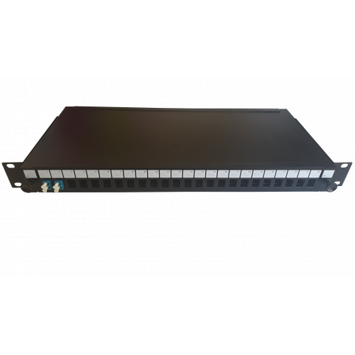 LC Duplex 4 port 24 position patch panel loaded with 2 LC duplex singlemode adaptors (Each)