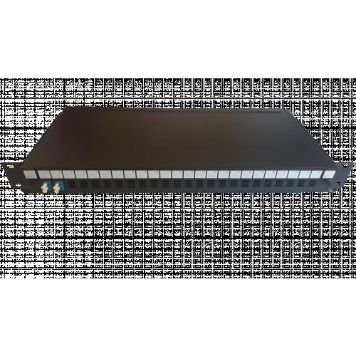 LC Duplex 4 port 24 position patch panel loaded with 2 LC duplex singlemode adaptors (Each)