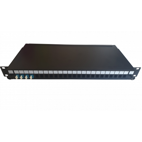 LC Duplex 8 port 24 position patch panel loaded with 4 LC duplex singlemode adaptors (Each)