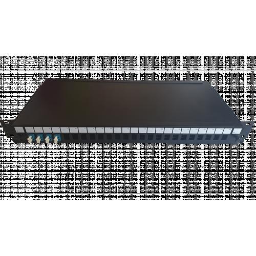 LC Duplex 8 port 24 position patch panel loaded with 4 LC duplex singlemode adaptors (Each)