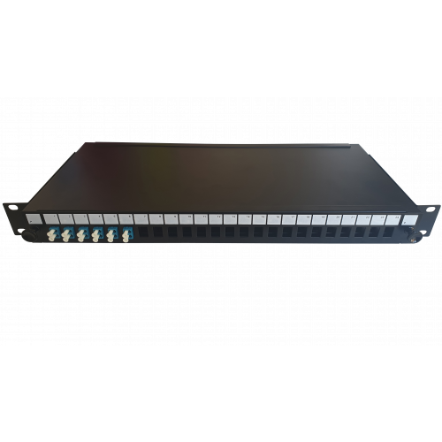 LC Duplex 12 port 24 position patch panel loaded with 6 LC duplex singlemode adaptors (Each)