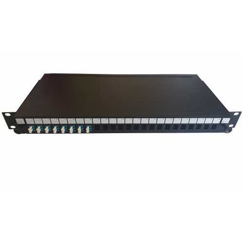LC Duplex 16 port 24 position patch panel loaded with 8 LC duplex singlemode adaptors (Each)