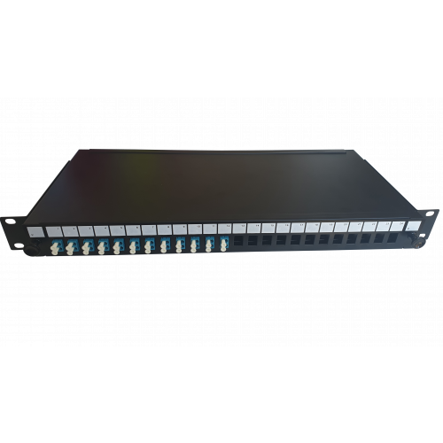 LC Duplex 24 port 24 position patch panel loaded with 12 LC duplex singlemode adaptors (Each)