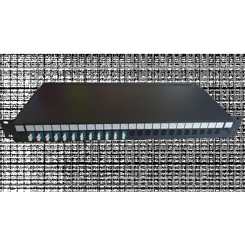 LC Duplex 24 port 24 position patch panel loaded with 12 LC duplex singlemode adaptors (Each)
