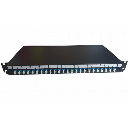 LC Duplex 48 port 24 position patch panel loaded with 24 LC duplex singlemode adaptors (Each)