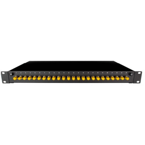 ST Simplex 24port patch panel loaded with 24 ST screw mounted singlemode adaptors (Each)