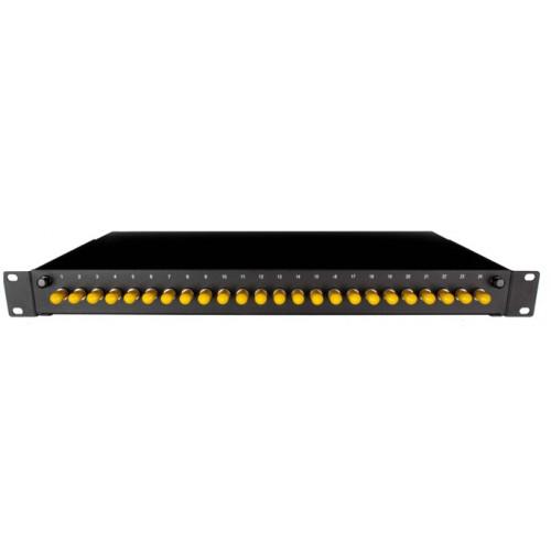 CMW Ltd  | ST Simplex 24port patch panel loaded with 24 ST screw mounted singlemode adaptors