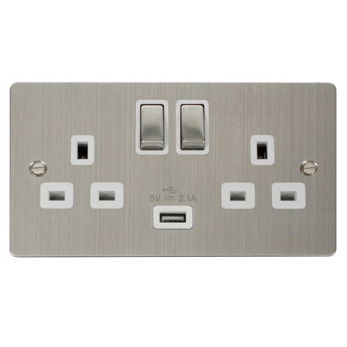 Scolmore FPSS570WH | Stainless Steel 13a Switch with 2.1a USB