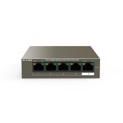 IP-Com G1105P-4-63W    5 Port Gigabit Switch with 4 Ports PoE (30W Max per port, 58W Total PoE Budget)