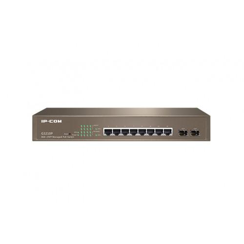 IP-Com G3210P    8 Port Gigabit Switch with 8 Ports PoE + 2 SFP Ports (30W Max per port, 115W Total PoE Budget)