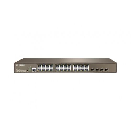 IP-Com G3224P    24 Port Gigabit PoE Smart Switch with 4 SFP Ports (30W Max per port, 370W Total PoE Budget)