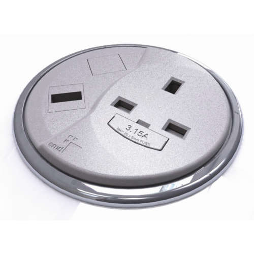 Grey Desktop Porthole 1 x Power, 1 x Data (Each)