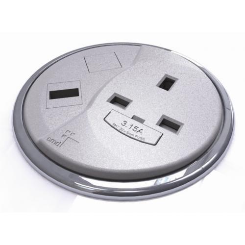 CMW Ltd Desk Cable Management | Grey Desktop Porthole 1 x Power, 1 x Data