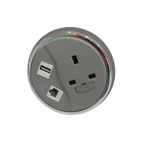 CMW Ltd Desk Cable Management | Grey Desktop Porthole 1 x Power, 1 x Data, 1 x USB