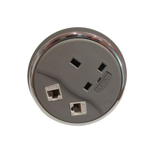 CMW Ltd Desk Cable Management   Grey Desktop Porthole 1 Power x 2 Data
