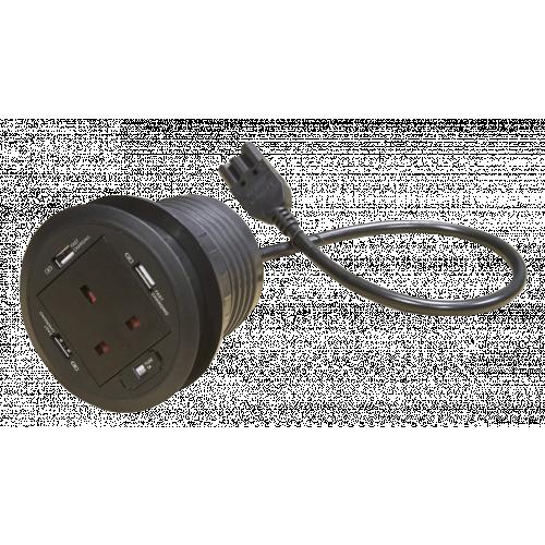 CMW Ltd  | Black Grommet 1x Power & 3 X USB Power