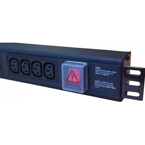 10 Way Horizontal 8 x IEC-C13 & 2 x IEC-C19 PDU 1.5U  3m Switched with 32A Commando Plug- Black (Each)