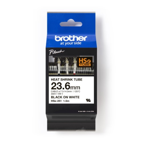 Brother Pro Tape HSe-251 Heat shrink tube - Black on White, 23.6mm