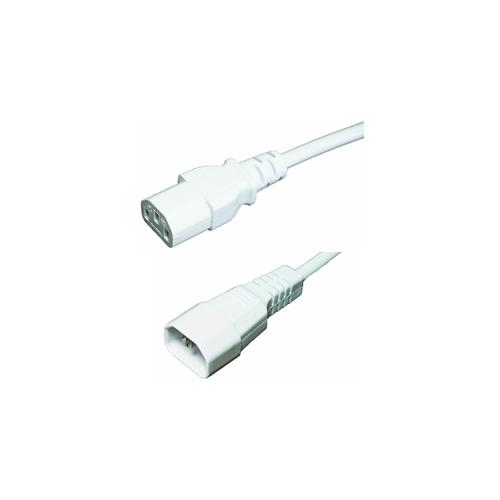 White 1m IEC C14 Male to C13 Female Lead (Each)