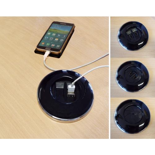 CMW Ltd Desk Cable Management | ALGAR IRIS In Desk Module  2 x USB Socket 80mm Cut Out Black