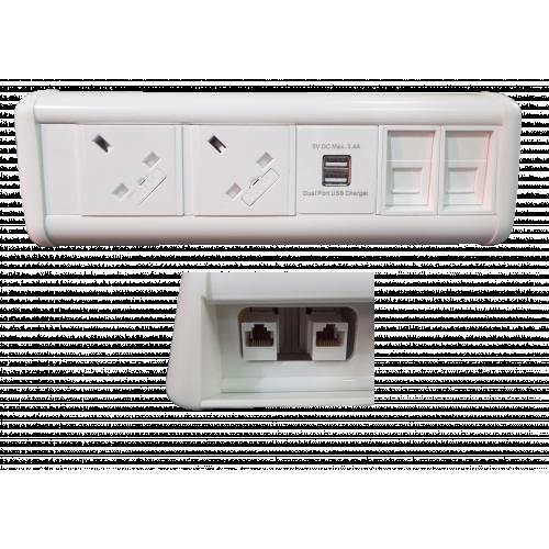 Maxi Unit 2 Power 1 x Dual USB 2 Data Couplers (Each)