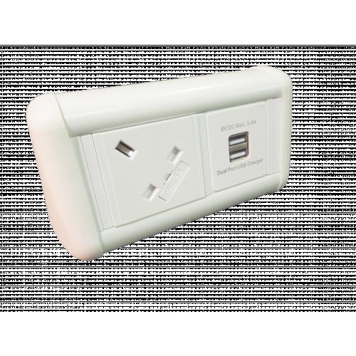 CMW Ltd Desk Cable Management | Mini Desk Unit 1 Power & 1 x Dual USB