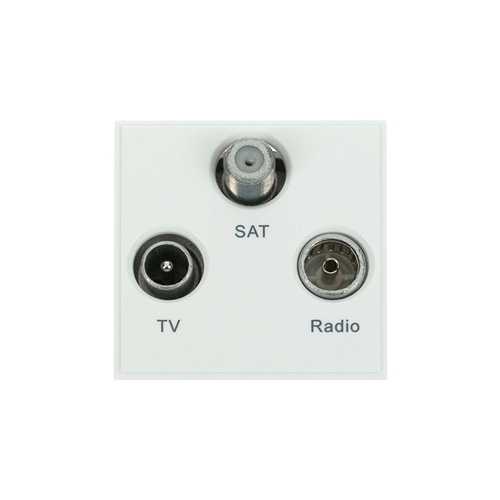 Click New Media White TV Radio & Satellite EURO 50x50mm Module (Each)