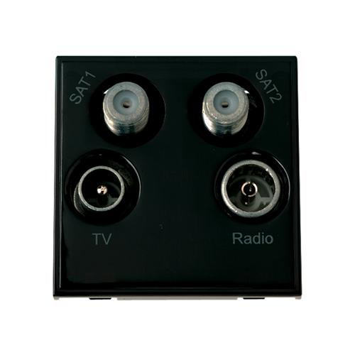 Scolmore MM440BK | Click New Media Black Quad TV Radio SAT 1 & SAT 2 EURO 50x50mm Module