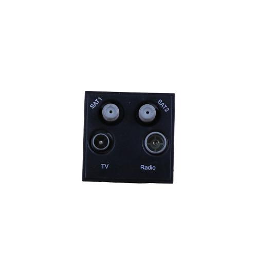 Scolmore MM440BK Click New Media Black Quad TV Radio SAT 1 & SAT 2 EURO 50x50mm Module