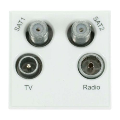 Click New Media White Quad TV Radio SAT 1 & SAT 2 EURO 50x50mm Module (Each)