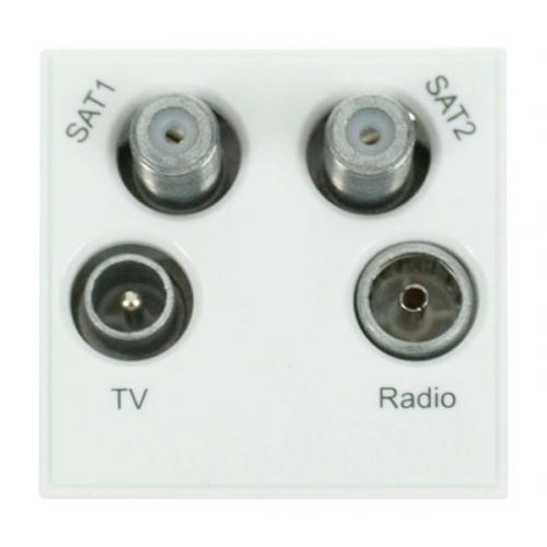 Scolmore MM440WH | Click New Media White Quad TV Radio SAT 1 & SAT 2 EURO 50x50mm Module