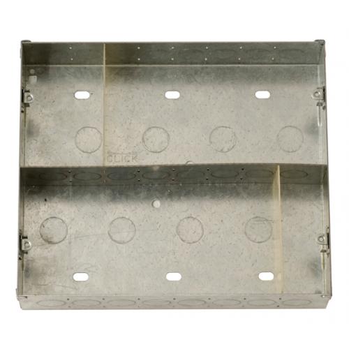 Click 47mm Deep New Media Galvanised Back Box - 8 Apertures (Each)