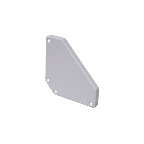 CMW Ltd Angled Bench Trunking | Marco Satin Anodised Aluminium White, Bench Trunking End Cover, Pack of 2,  100mm x 100mm,