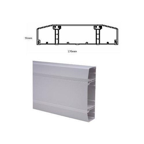 Marco Apollo PVC White 3 Compartment Dado - Skirting Trunking 170mm x 50mm 3m length (3m lgth)