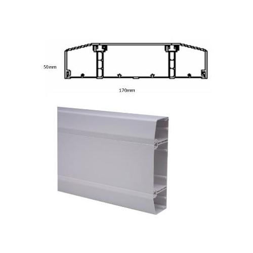 CMW Ltd  | Marco Apollo PVC White 3 Compartment Dado - Skirting Trunking 170mm x 50mm 3m length (3m lgth)