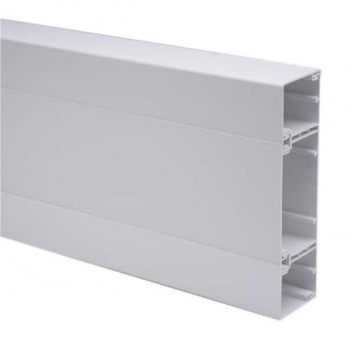 Marco Apollo PVC White 3 Compartment Dado - Skirting Square Trunking 3m length (3m lgth)