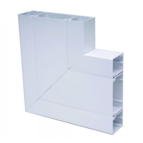 Marco Apollo PVC White 3 Compartment Dado - Skirting Square Trunking Flat Angle (Each)