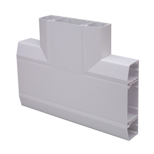 Marco Apollo PVC White 3 Compartment Dado - Chamfer Trunking Flat Tee (Each)