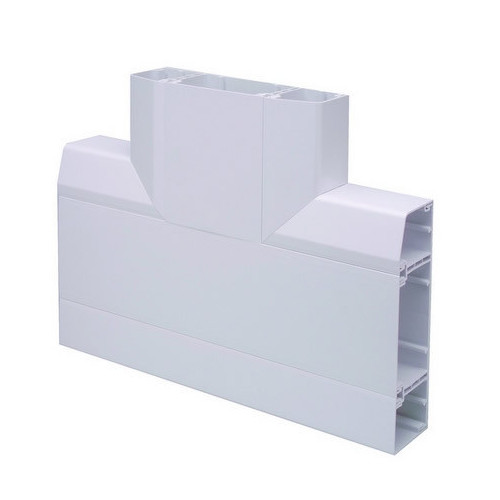 Marco Apollo PVC White 3 Compartment Dado - Skirting Trunking Flat Tee (Each)