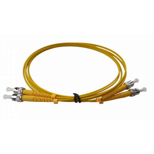 CMW Ltd Fibreoptic Patch Lead   1m ST-ST singlemode Duplex Patchcord 3mm Jacket Yellow