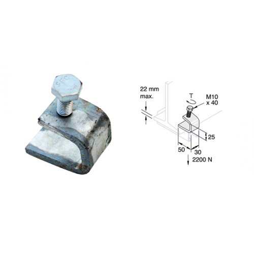 Mild Steel Zinc Plated Channel Beam Clips (Each)