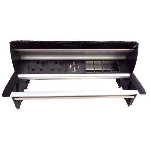 CMW Ltd Desk Cable Management   Desk Unit with 2 Power, 1 x Dual USB Charger& 4 x Data Apertures