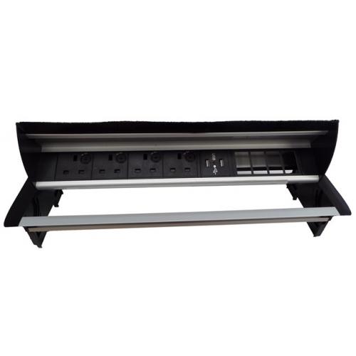 CMW Ltd Desk Cable Management   Desk Unit with 4 Power, 1 x Dual USB Charger& 4 x Data Apertures