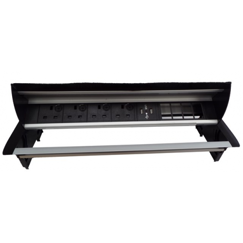 CMW Ltd Desk Cable Management | Desk Unit with 4 Power, 1 x Dual USB Charger& 4 x Data Apertures
