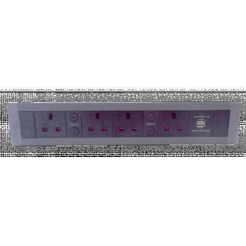 CR In Desk Mount Unit with 4 x 13A North UK Power-2 x USB 3.4A 376mm x 63mm Black/Grey (Each)