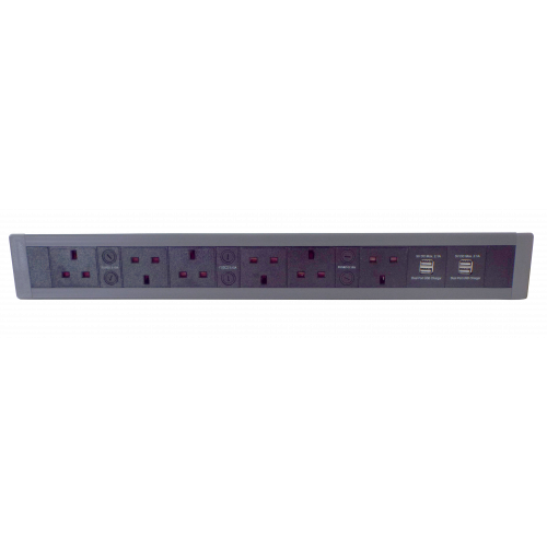 CR In Desk Mount Unit with 3 x 13A North 3 x 13A South UK Power-2 x USB 3.4A 548mm x 63mm Black/Grey (Each)