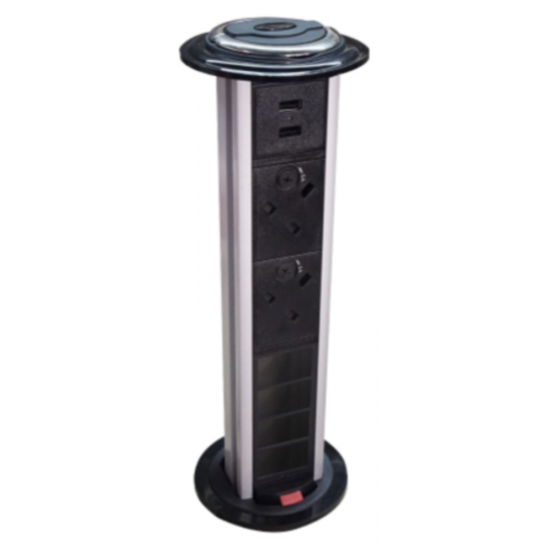 CR Pull Up Power Units Vertical with 2 x 13A UK Power -2 x USB 3.4A - 4 x LJ6C Data Black/Silver (Each)