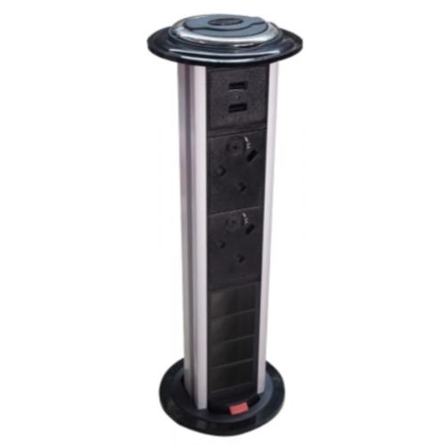 CMW Ltd  | CR Pull Up Power Units Vertical with 2 x 13A UK Power -2 x USB 3.4A - 4 x LJ6C Data Black/Silver